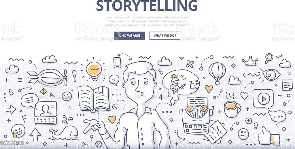 Storytelling Doodle Concept vector art illustration