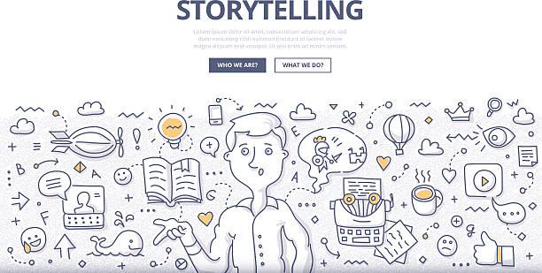 geschichtenerzählen doodle konzept - lesestrategien stock-grafiken, -clipart, -cartoons und -symbole