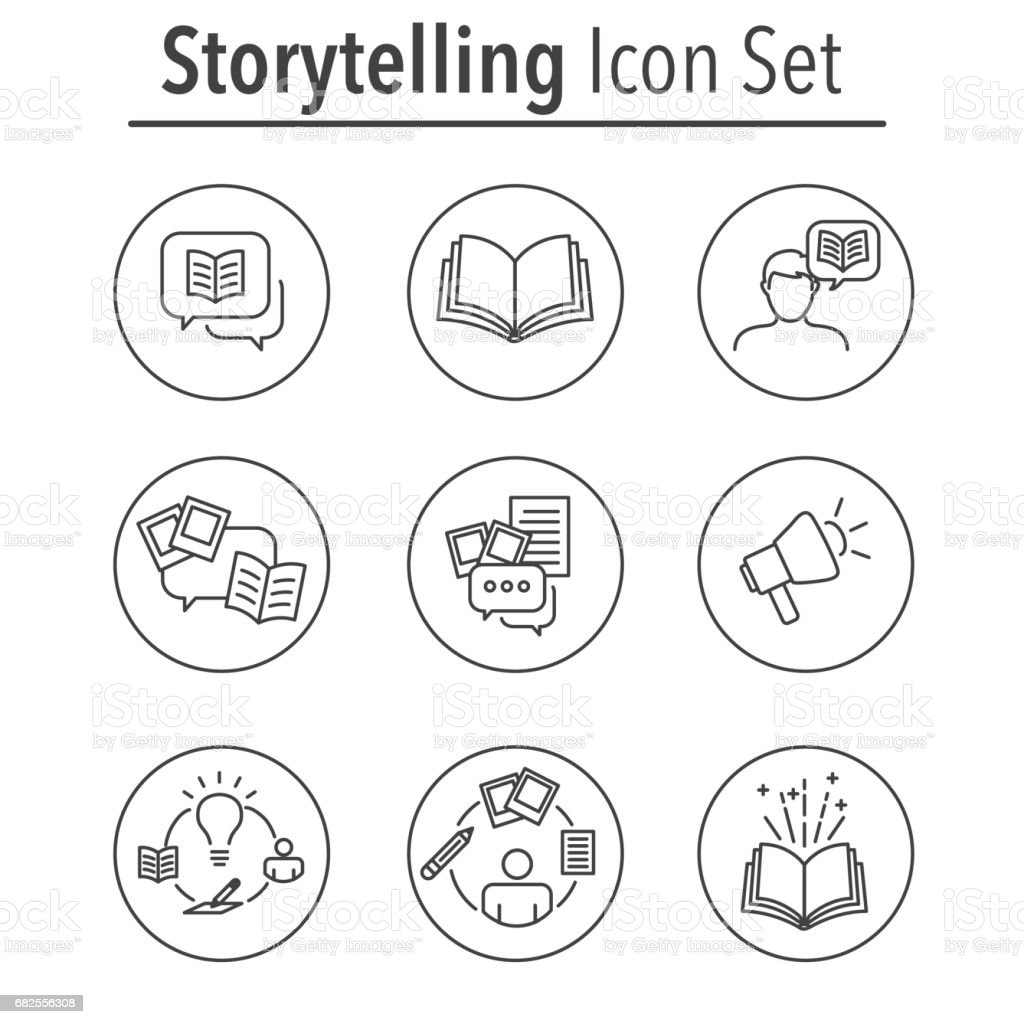 Storytelling Icon Set with Speech Bubbles vector art illustration