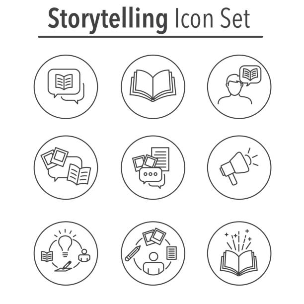 Storytelling Icon Set with Speech Bubbles Storytelling Icon Set with Speech Bubbles and Books storytelling stock illustrations