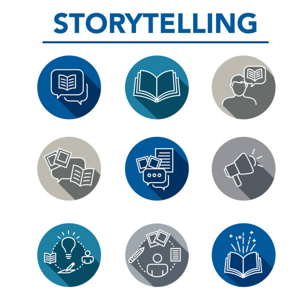 Storytelling Icon Set with Speech Bubbles Storytelling Icon Set with Speech Bubbles and BooksStorytelling Icon Set with Speech Bubbles and Books storytelling stock illustrations