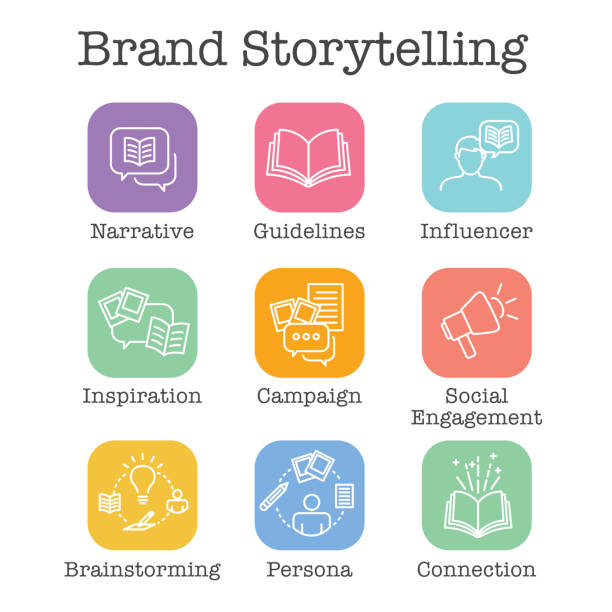 Storytelling Icon with Photo, Speech Bubbles, and person telling a brand & advertising story Storytelling Icon with Photo, Speech Bubbles, and person telling a brand - advertising story storytelling stock illustrations