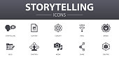storytelling simple concept icons set. Contains such icons as content, viral, blog, emotion and more, can be used for web, logo, UI/UX