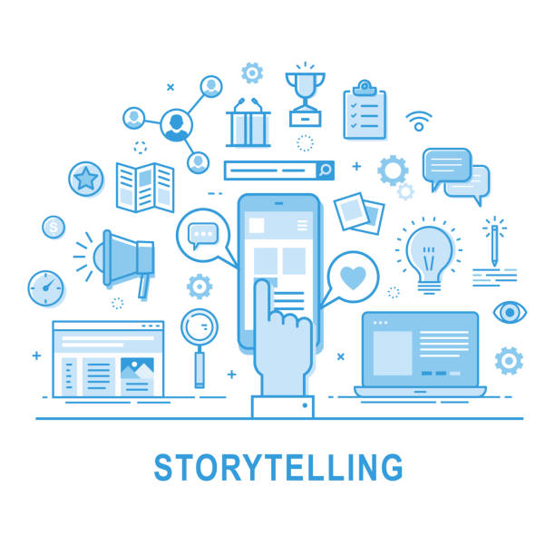 Storytelling vector icon set. Storytelling vector. Illustration of building social media campaigns around stories, storytelling, producing ads. Storytelling concept for web banners and printed materials. Thin line design. storytelling stock illustrations