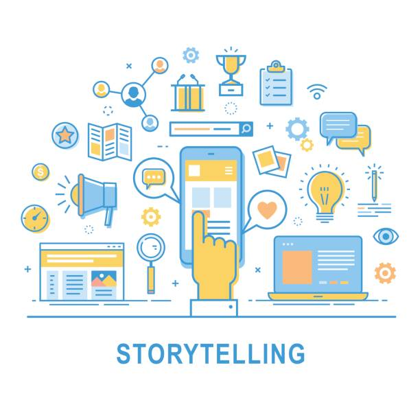 Storytelling. Storytelling vector. Illustration of building social media campaigns around stories, storytelling, producing ads. Storytelling concept for web banners and printed materials. Thin line design. storytelling stock illustrations