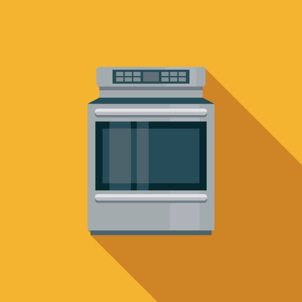 Stove Flat Design Appliance Icon A flat design styled icon with a long side shadow. Color swatches are global so it's easy to edit and change the colors. oven stock illustrations