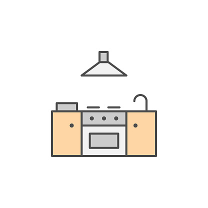 Stove icon with water faucet and extractor fan. Kitchen appliances for cooking Illustration. Simple thin line style symbol.