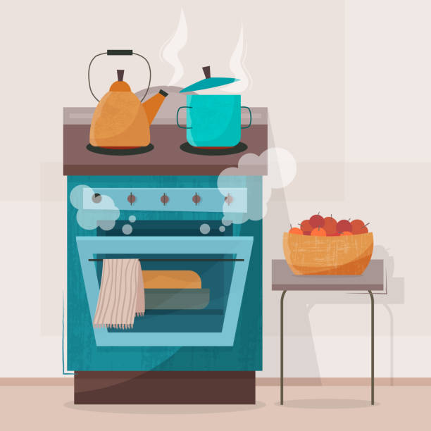 Stove in kitchen. Oven with dishes Stove in kitchen. Oven with dishes. Flat style vector illustration. oven stock illustrations
