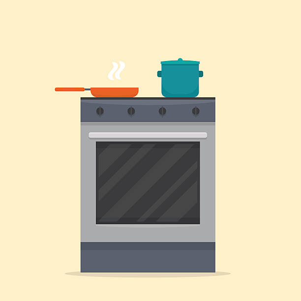 Stove in kitchen. Stove in kitchen. Oven with dishes. Flat style vector illustration. oven stock illustrations