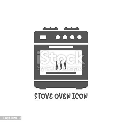Stove oven icon simple silhouette flat style vector illustration on white background.