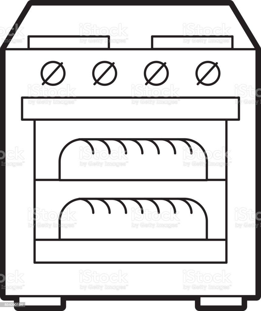 forno de fogão com dois ícone de pão quente - ilustração de arte em vetor