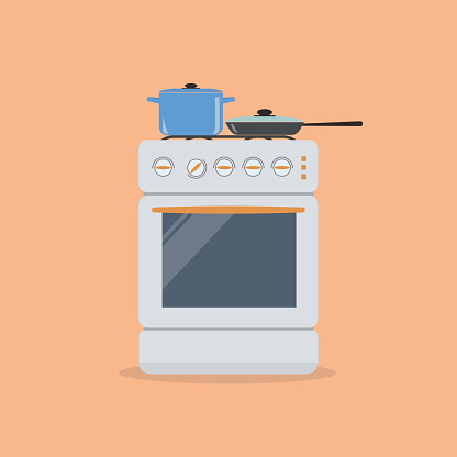 Stove with pan and frying pan on an orange background