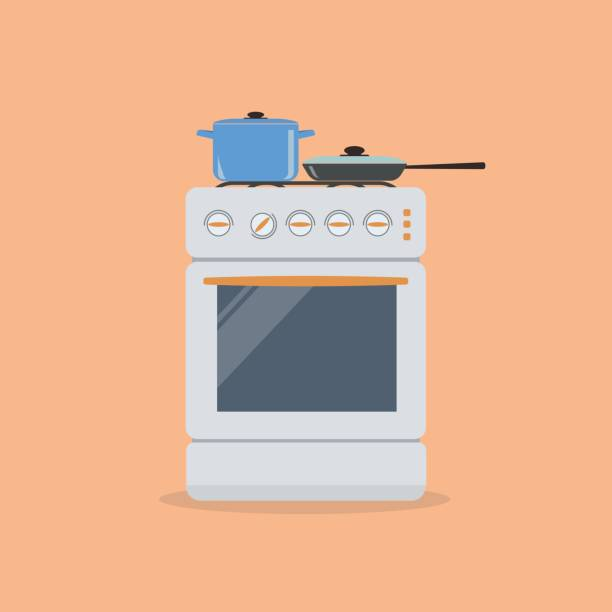 Stove with pan and frying pan on an orange background Stove with pan and frying pan on an orange background. Vector illustration. stove stock illustrations