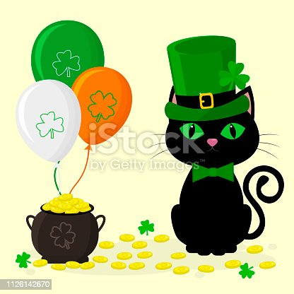 St.Patrick s Day. A black cat in a green hat of a leprechaun, a pot of gold coins, three balloons, a clover. Cartoon style, flat design. Vector illustration.