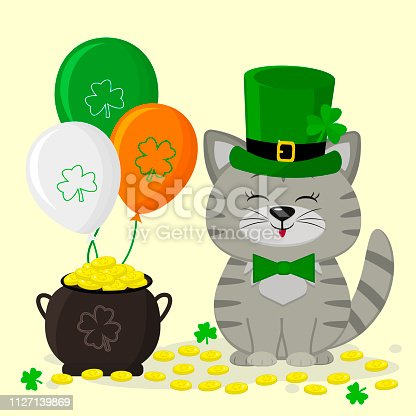 St.Patrick 's Day. A gray striped Kitty in a green hat of a leprechaun, a pot of gold coins, three balloons, a clover. Cartoon style, flat design. Vector illustration.