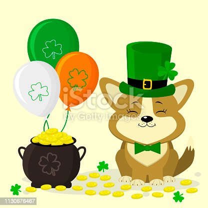 St.Patrick s Day. Cute corgi dog in green hat. Leprechaun and butterfly green tie. A pot of gold coins, three balls, clover. Cartoon style, flat design. Vector illustration.