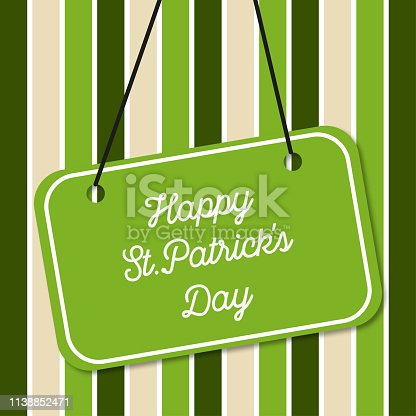 St.Patrick's Day on green background  in lines