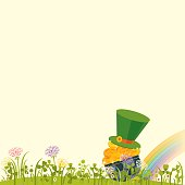 Lucky golden coins in blooming clovers. St.Patrick's Day Background. Vector illustration.