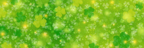 St.Patrick's Day banner vector template St.Patrick's Day floral style green blurred background with clover leaves shamrock stock illustrations