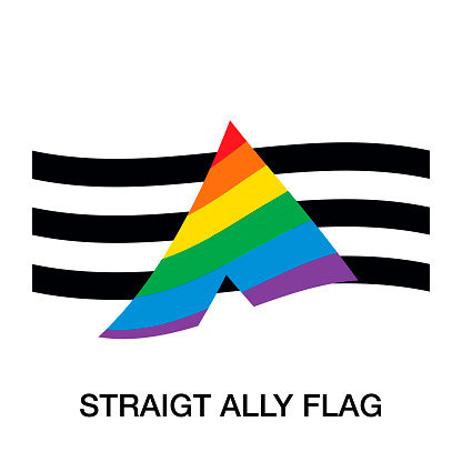 Straight Ally Flag  on white background. Symbol of Straight Ally Community