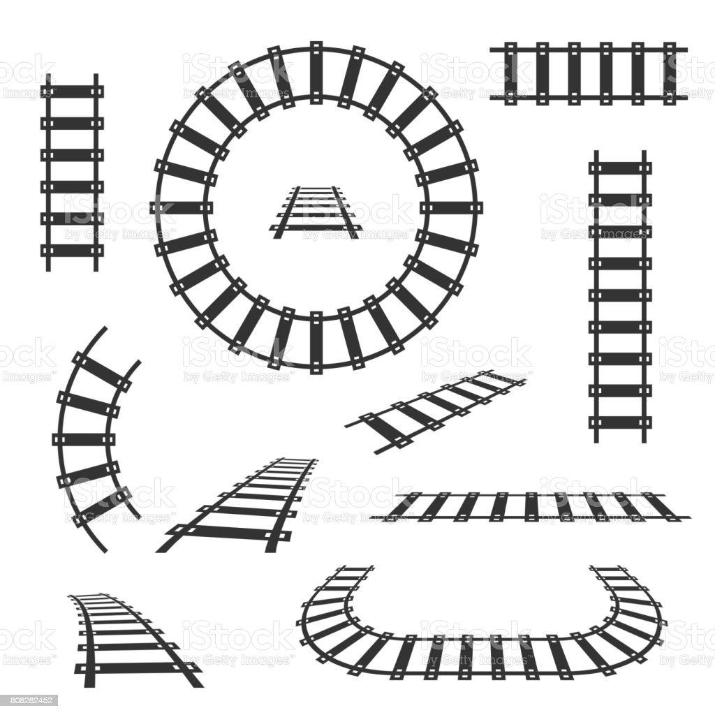 Gerade und gebogene Railroad tracks schwarz Vektor-icons – Vektorgrafik