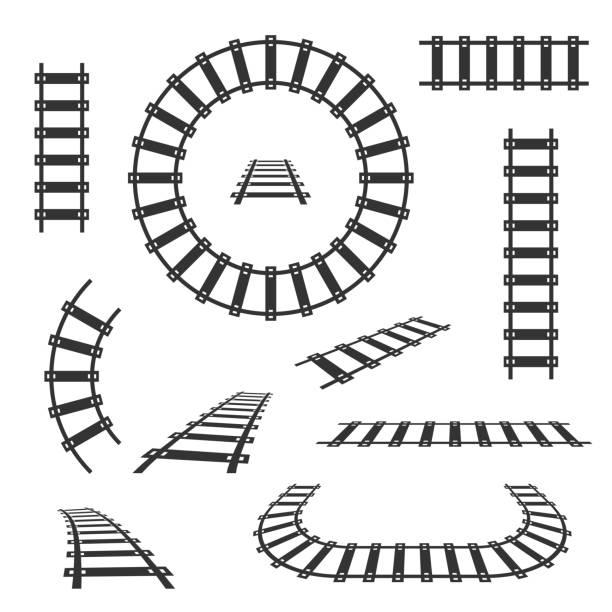 illustrations, cliparts, dessins animés et icônes de chemin de fer droite et courbe titres icônes vectorielles noir - voie ferrée