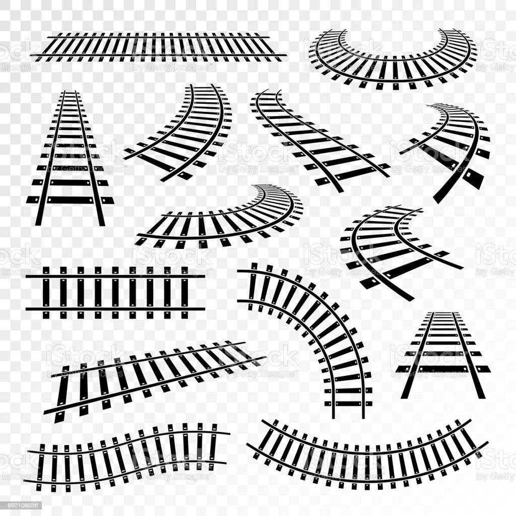 Straight And Curved Rails Icon Set Stock Illustration
