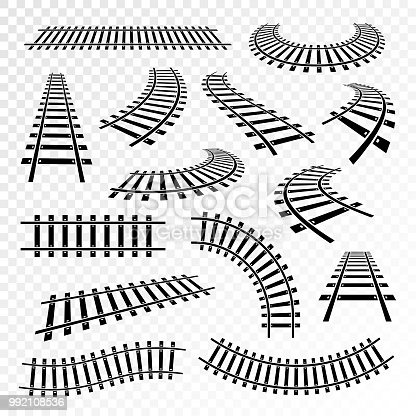 Straight and curved rails icon set. Railroad train runs on, steel bars laid forming a railway track. Vector illustration