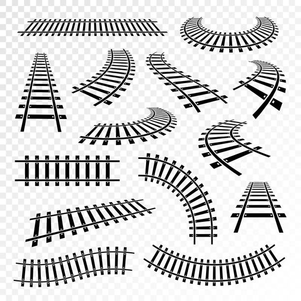 stockillustraties, clipart, cartoons en iconen met rechte en gebogen rails pictogramserie - trein