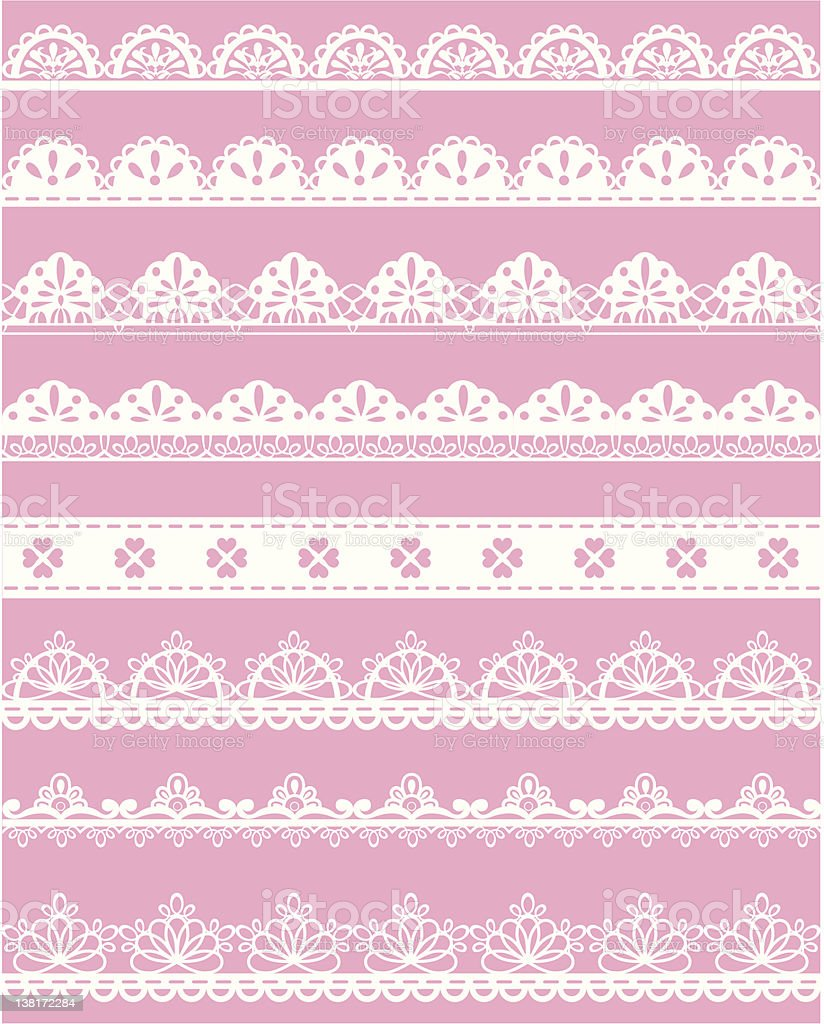 Straight and decorative lace on pink vector art illustration