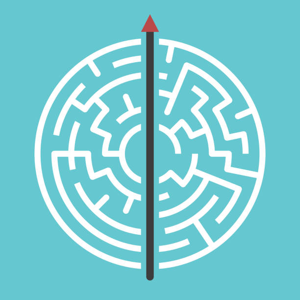 Straight arrow through maze Straight arrow going right through maze on turquoise blue. Simple straightforward solution, creativity, strength, obstinacy, decision and courage concept. Flat design. Eps 8 vector illustration straight stock illustrations