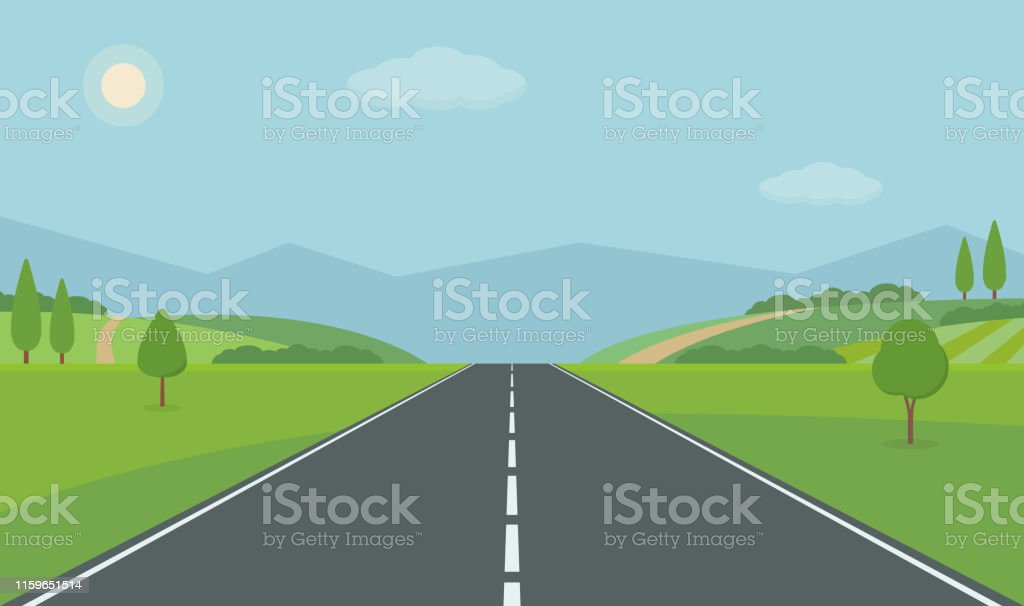 Straight empty road through the countryside. Green hills, blue sky, meadow and mountains. - arte vettoriale royalty-free di Albero