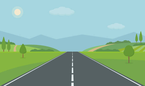 ilustrações de stock, clip art, desenhos animados e ícones de straight empty road through the countryside. green hills, blue sky, meadow and mountains. - road