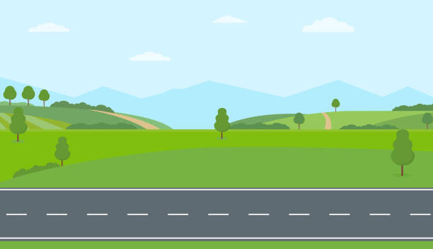 Straight empty road through the countryside. Green hills, blue sky, meadow and mountains. Straight empty road through the countryside. Green hills, blue sky, meadow and mountains. Summer landscape vector illustration. valley stock illustrations