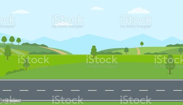 Straight Empty Road Through The Countryside Green Hills Blue Sky Meadow And Mountains - Immagini vettoriali stock e altre immagini di Albero