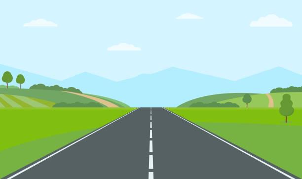 ilustraciones, imágenes clip art, dibujos animados e iconos de stock de camino vacío a través del campo. colinas verdes, cielo azul, prado y montañas. - vía