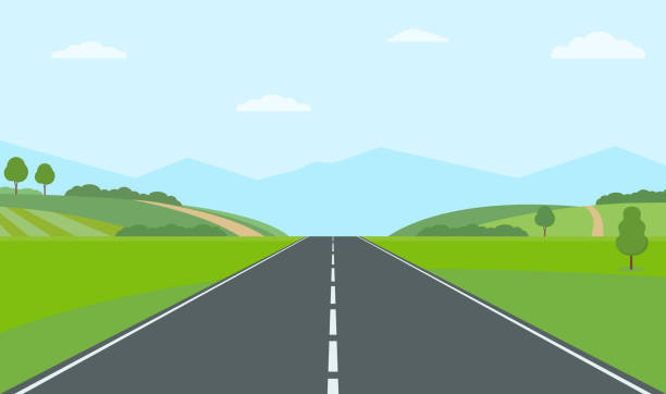 Straight empty road through the countryside. Green hills, blue sky, meadow and mountains. Straight empty road through the countryside. Green hills, blue sky, meadow and mountains. Summer landscape vector illustration. highway stock illustrations