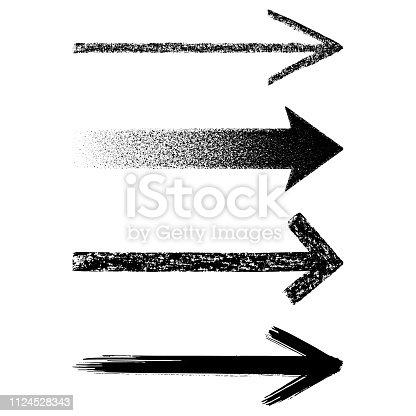 Set of straight grunge vector arrows. Hand drawn design elements. Chalk drawing, brush stroke.