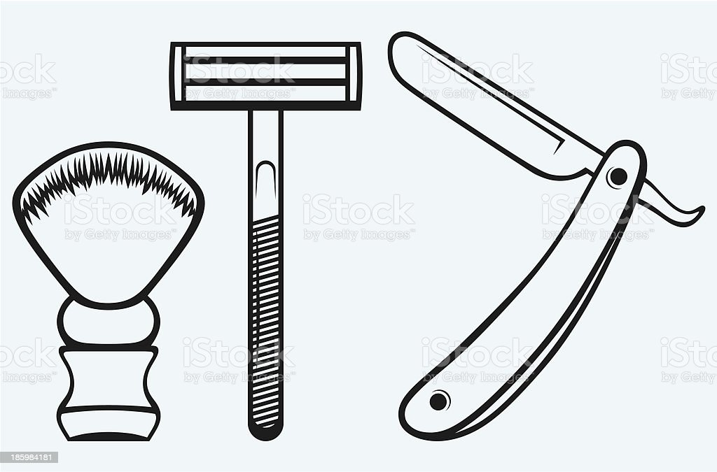Straight razor and shaving brush royalty-free straight razor and shaving brush stock vector art & more images of barber