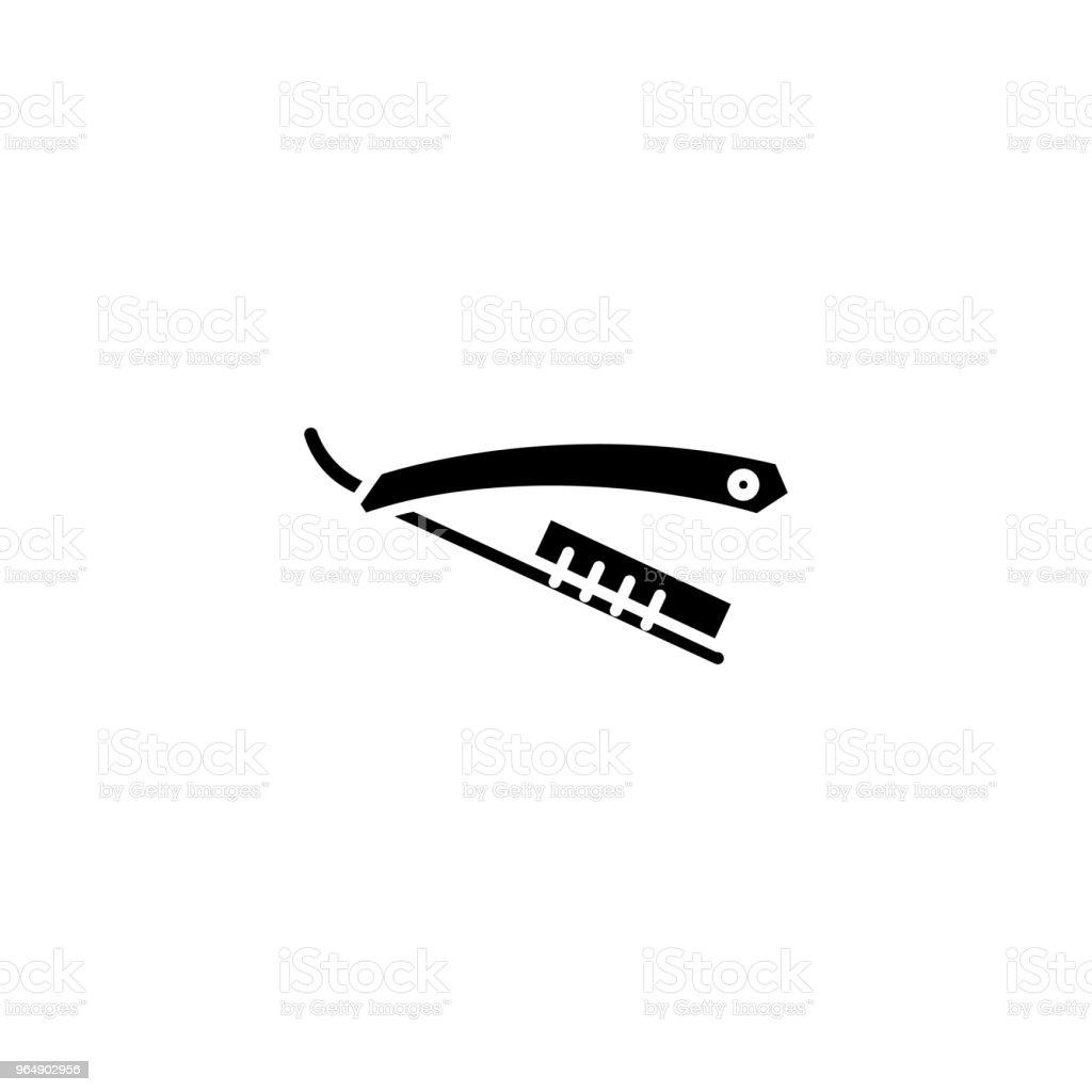 直剃刀黑色圖示的概念。直剃刀平面向量符號, 符號, 插圖。 - 免版稅一組物體圖庫向量圖形