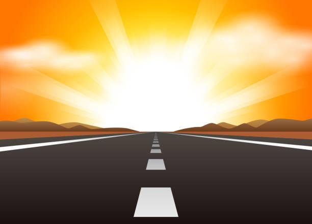 ilustrações de stock, clip art, desenhos animados e ícones de estrada reta e nascer do sol - driveway, no people