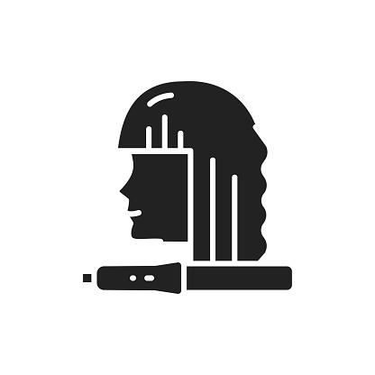 Straighten hair black glyph icon. Hairdresser services.