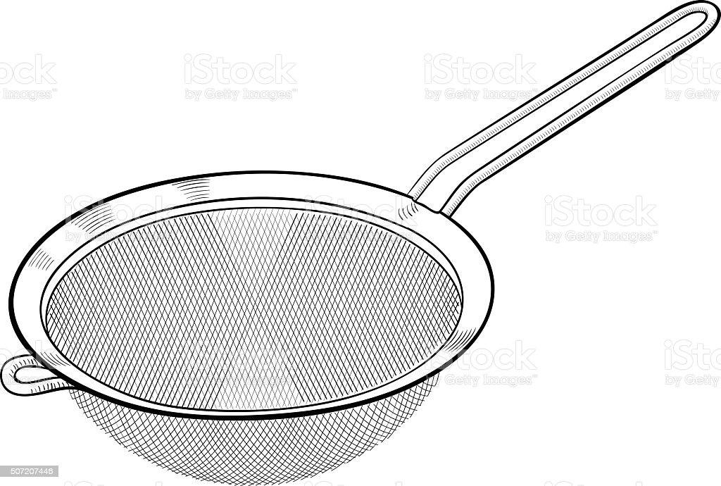 Strainer Sieve Kitchen Utensil vector art illustration