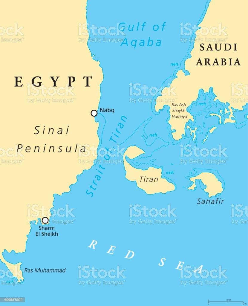 Strait of Tiran political map vector art illustration