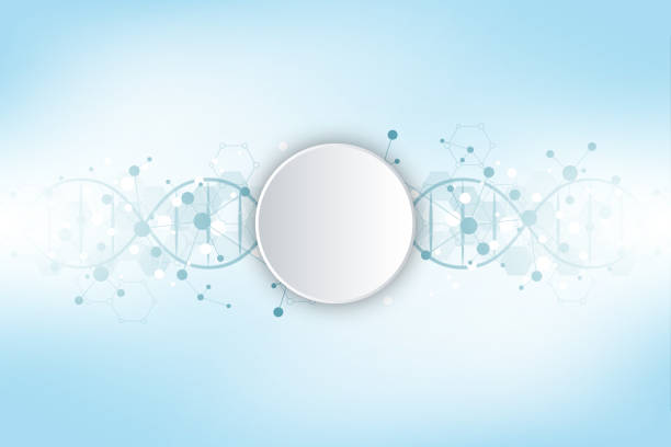 DNA strand and molecular structure. Genetic engineering or laboratory research. Background texture for medical or scientific and technological design. Vector illustration. vector art illustration