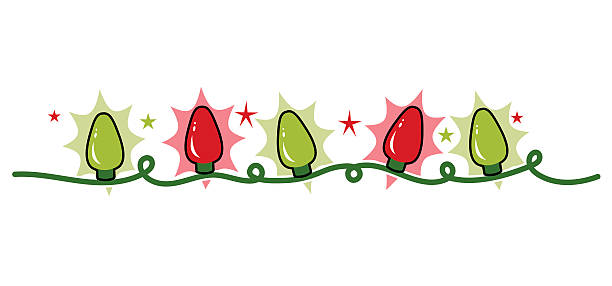 Strand string of holiday Christmas lights, red and green vector art illustration