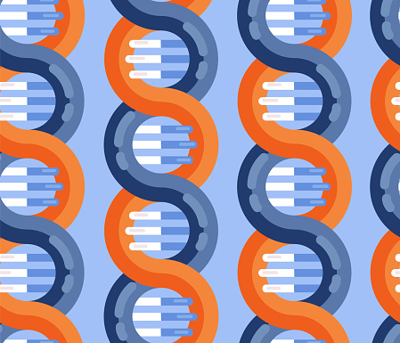 Dna鏈分子無縫載體模式重複背景螺旋遺傳dna醫學圖示螺旋結構符號dna 鏈 放大雙螺旋結構 藍色和紅色向量圖形及更多人圖片