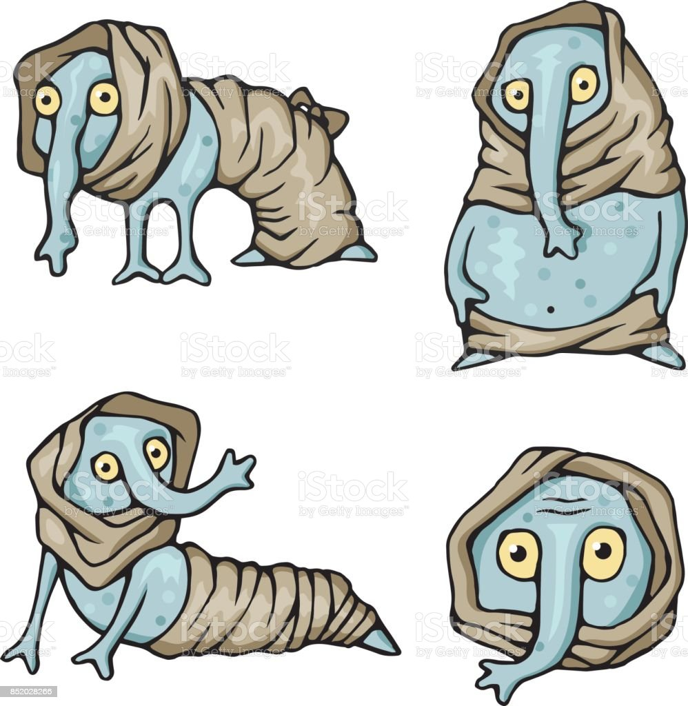Strange creatures characters monsters set vector art illustration