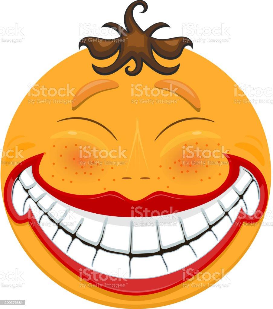 Strange smiling toothy smiley vector art illustration
