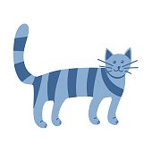 Strange striped cat in Doodle style. The pet stands on all fours. Animal. A simple, cute hand-drawn drawing. Isolated on a white background. Color vector illustration